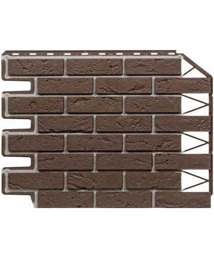 Фасадные панели Фасайдинг Дачный Баварский Кирпич Темно-коричневый