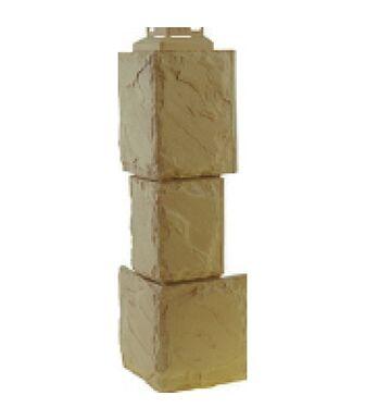 Угол наружный Фасайдинг Дачный Камень Крупный Бежевый