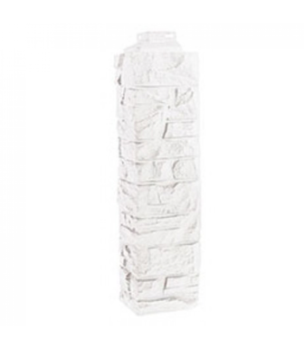 Угол наружный Фасайдинг Дачный Скала Мелованный Белый