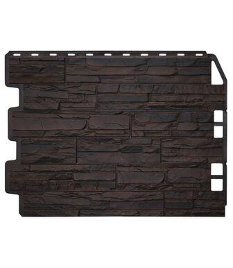 Фасадные панели Фасайдинг  Дачный Скол 3D-Facture Тёмно-коричневый