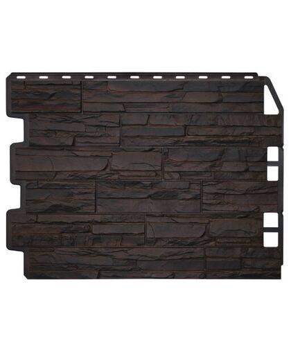 Фасадные панели (Цокольный Сайдинг) Фасайдинг Дачный Скол Тёмно-коричневый