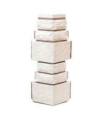 Угол наружный Т-Сайдинг (Техоснастка) Дикий камень Белый