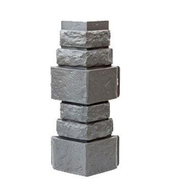 Угол наружный Т-Сайдинг (Техоснастка) Дикий камень Серый