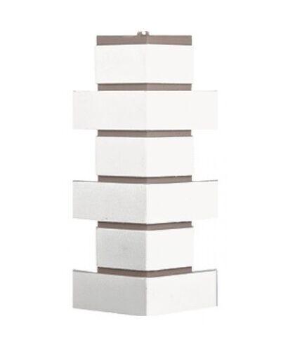 Угол наружный Т-Сайдинг (Техоснастка) Керамит (Кирпич Керамический) Белый