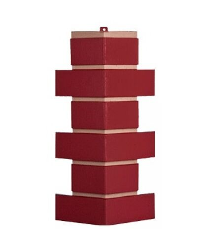 Угол наружный Т-Сайдинг (Техоснастка) Керамит (Кирпич Керамический) Бордовый
