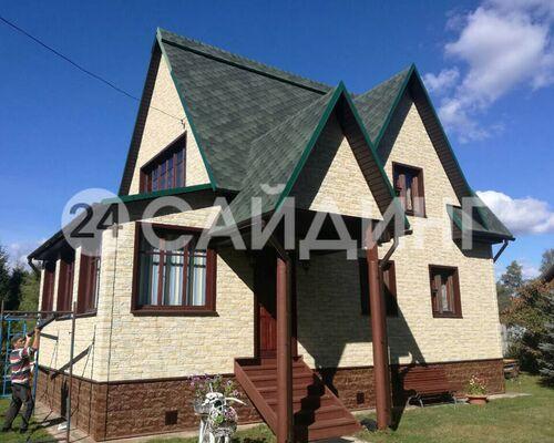 фото дома отделанного фасадными панелями деке стеин цвет янтарный галерея 1
