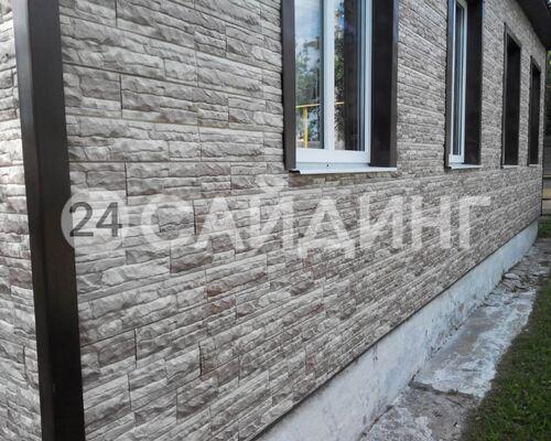 фото дома отделанного фасадными панелями доломит скалистый риф люкс цвет коралл галерея 1