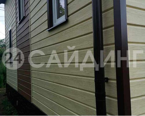 фото монтажа docke LUX Брус D6S Яблоня, вставки Миндаль
